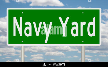 Rendering of a green road sign for Navy Yard in Washington DC - Stock Photo