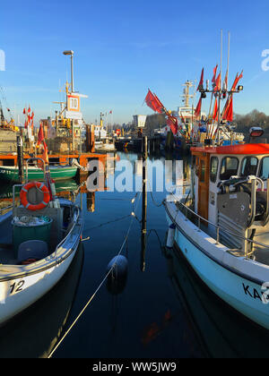 Fishing boats in the harbour of Kappeln an der Schlei, Schleswig-Holstein, Germany - Stock Photo