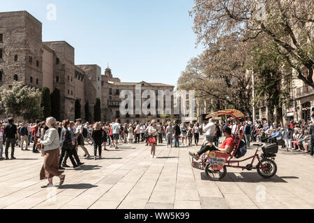 Authentic Imagery of real peoples lifestyle in everyday situations.  Having fun, on vacation, riding bikes, shopping, walking in Barcelona, Spain. - Stock Photo