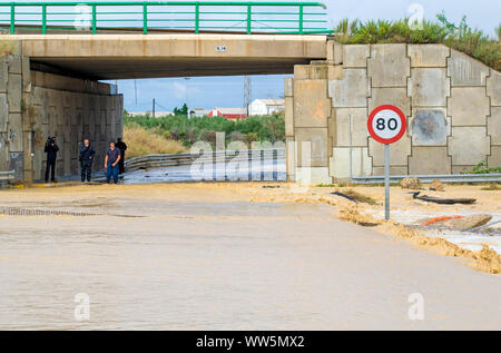 Murcia, Spain, September 13, 2019: Floods and damages caused by torrential rain on September 13th in Murcia, Spain - Stock Photo