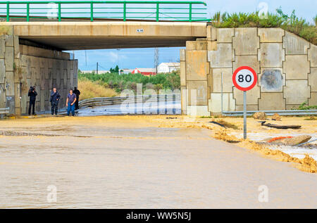 Murcia, Spain, September 13, 2019:  Floods and damages caused by torrential rain due to the atmospheric phenomenon DANA on September 12th to 13th. - Stock Photo