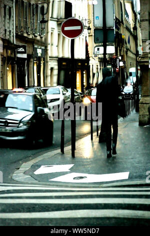 Photography of a street of Paris in the mirror, - Stock Photo