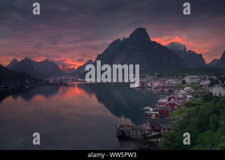 Sunrise over beautiful Reine Village in Lofoten Islands, Norway - Stock Photo