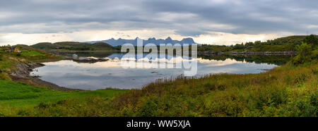 panoramic view, scenery on island Heroywith mountain range seven sisters (syv søstre), Norway,Nordland