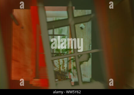 The abstract double exposure of a nostalgic window with an indoor plant in the window. - Stock Photo