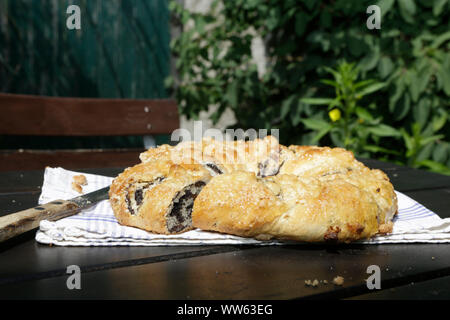 Typical pastry Katharinen crown cake, Castle Hartenfels in Torgau, Saxony, Germany - Stock Photo