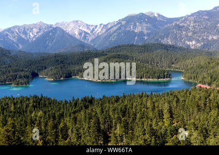 View at Eibsee from the Eibsee cable car, Zugspitze, 2962 m, the highest mountain peak of Germany, Wetterstein Range, Eastern Alps, Alps, Garmisch-Partenkirchen, Bavaria, Germany, Europe - Stock Photo