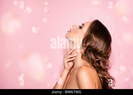 Perfection is a hard work Pampering, complexion, enhancement, therapy, treatment, clear and clean, oily, dry skin concept. Gorgeous charming she her - Stock Photo