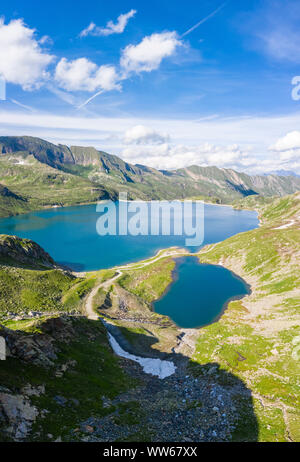 Aerial view of the Naret lake in Lavizzara Valley, Maggia Valley, Lepontine Alps, Canton Ticino, Switzerland. - Stock Photo