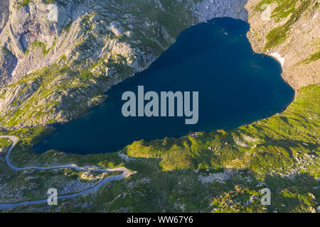 Aerial view of Lago Superiore in Lavizzara Valley at sunrise, Maggia Valley, Lepontine Alps, Canton Ticino, Switzerland. - Stock Photo