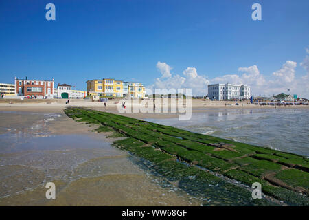 Breakwater in front of the promenade on the west beach of the island Norderney. - Stock Photo