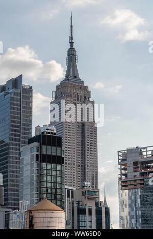 Scenic Midtown Manhattan skyline vista after sunrise, New York City