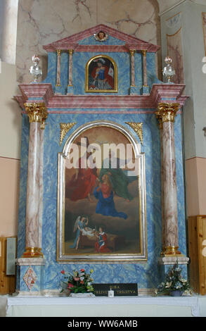 Altar of the Holy Trinity in the church of the Assumption of the Virgin Mary in Savski Nart, Croatia - Stock Photo
