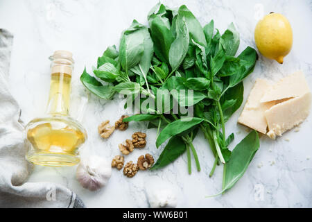 Basil pesto ingredients on marble background. Top view composition, recipe flatlay - Stock Photo
