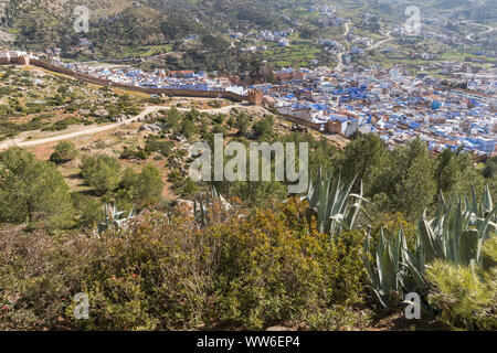 View over the town of Chefchaouen, Morocco, North Africa - Stock Photo