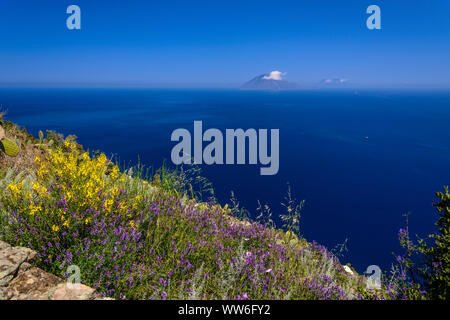 Italy, Sicily, Aeolian Islands, Alicudi, San Bartolo, view of Filicudi - Stock Photo