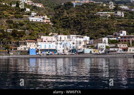 Italy, Sicily, Aeolian Islands, Filicudi, Filicudi Porto - Stock Photo