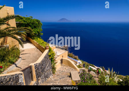 Italy, Sicily, Aeolian Islands, Alicudi, Vallone, typical house with footpath towards Filicudi - Stock Photo