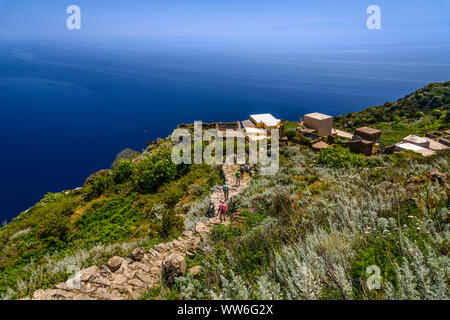 Italy, Sicily, Aeolian Islands, Alicudi, Montagna, hiking trail - Stock Photo