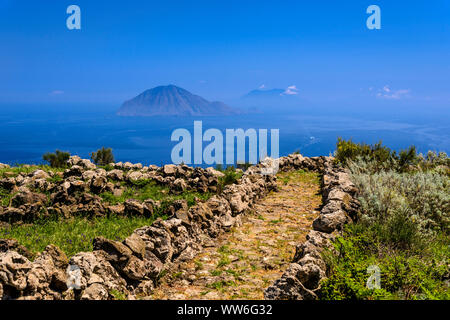 Italy, Sicily, Aeolian Islands, Alicudi, Dirittusu plateau, footpath towards Filicudi - Stock Photo