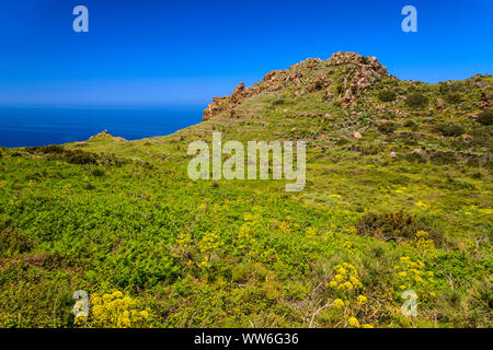 Italy, Sicily, Aeolian Islands, Alicudi, Dirittusu plateau - Stock Photo