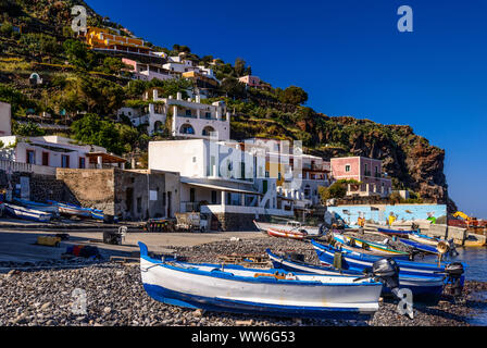 Italy, Sicily, Aeolian Islands, Alicudi, Alicudi Porto - Stock Photo