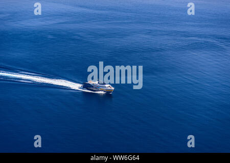 Italy, Sicily, Aeolian Islands, Alicudi, Aliscafo, hydrofoil - Stock Photo
