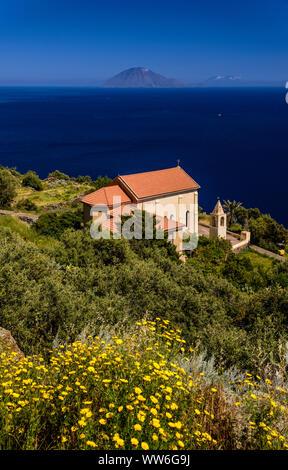 Italy, Sicily, Aeolian Islands, Alicudi, Chiesa del Carmine versus Filicudi - Stock Photo