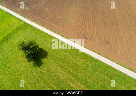 Aerial photograph, agricultural area, Schurwald, Ostalb, Baden Württemberg, Germany - Stock Photo