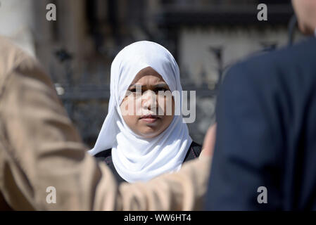 London, UK. 13th Sep, 2019. The parents of five year old Tafida Raqeeb - the girl at the centre of a legal dispute about whether her life support should be withdrawn (at the time on ventilation at the Royal London hospital after a brain injury in February) return to the High Court hoping to be allowed to take their daughter to Italy for further treatment. Shelina Begum - Tafida's mother. Credit: PjrFoto/Alamy Live News - Stock Photo