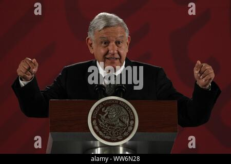Mexico City, Mexico. 13th Sep, 2019. Mexican President Andres Manuel Lopez Obrador speaks during a press conference at the National Palace in Mexico City, Mexico, 13 September 2019. Credit: Mario Guzman/EFE/Alamy Live News - Stock Photo