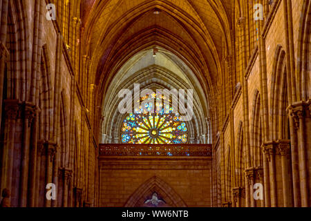 Quito, Pichincha, Ecuador. December 05 2017: Interior structure of the Basilica of the National Vote. Due to its size and style, it is considered the - Stock Photo