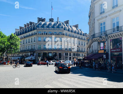 Paris / France - July 5, 2019: Hotel du Louvre facade. Currently Hyatt hotel. - Stock Photo