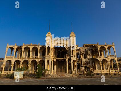 Ruins of the former banca d'italia, Northern Red Sea, Massawa, Eritrea - Stock Photo