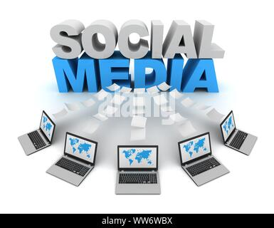 social media and laptops data transfer 3d concept illustration isolated on white background - Stock Photo