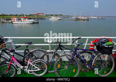 Harbor of the island Langeoog, East Frisian Islands, Lower Saxony, Germany - Stock Photo
