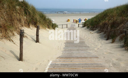 Dunes at the main beach, island Langeoog, East Frisian Islands, Lower Saxony, Germany - Stock Photo
