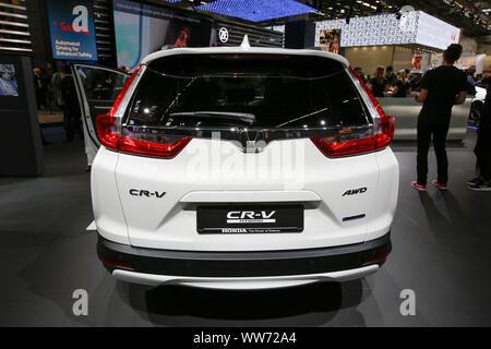 Frankfurt, Germany. 12th Sep, 2019. The Japanese car manufacturer Honda displays the Honda CR-V Hybrid compact crossover SUV at the 2019 Internationale Automobil-Ausstellung (IAA). (Photo by Michael Debets/Pacific Press) Credit: Pacific Press Agency/Alamy Live News - Stock Photo