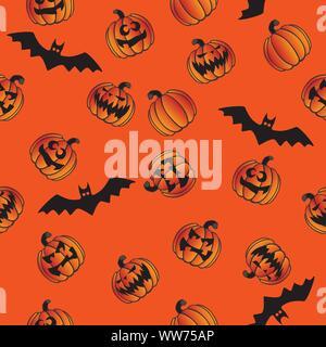 Halloween Jack O' Lantern Pumpkins and Bats Seamless Repeating Pattern Vector Illustration - Stock Photo