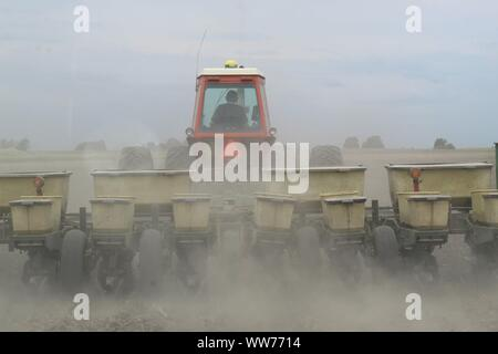 A farmer near Rankin Illinois planting crops in the spring. - Stock Photo