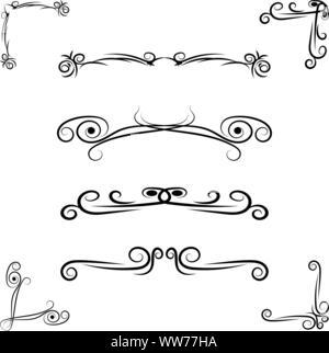 Hand drawn flourishes swirls, page dividers, border decor design elements ina vintage style - Stock Photo