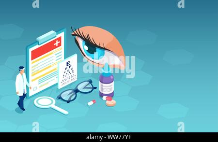 Isometric vector of ophthalmologist doctor ready to perform eyesight check up - Stock Photo