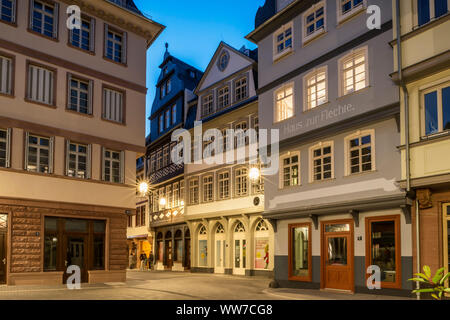 Frankfurt am Main, Hessen, Germany, view from the square 'Hühnermarkt' to the street 'Hinter dem Lämmchen' in the new old town at dusk, - Stock Photo