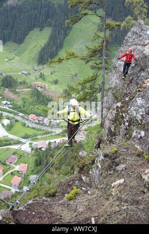 Via ferrata Nasenwand, Ginzling, Zillertal, Tyrol, Austria - Stock Photo