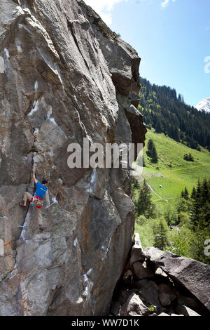 Climber in the climbing garden Ginzling, Zillertal, Tirol, Austria - Stock Photo