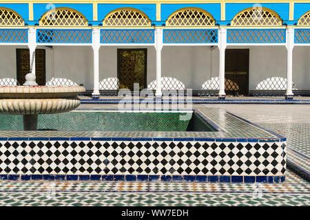 Morocco, Marrakech, Palais de la Bahia, courtyard, fountain - Stock Photo