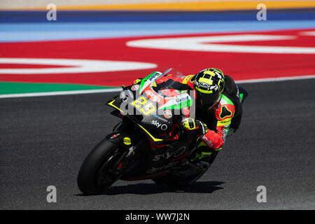 Misano, Italy. 13th Sep, 2019. Andrea Iannone on Aprilia during Friday Free Practices in Misano World Circuit (Photo by Lorenzo Di Cola/Pacific Press) Credit: Pacific Press Agency/Alamy Live News - Stock Photo