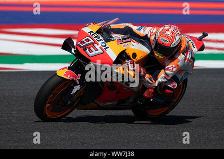 Misano, Italy. 13th Sep, 2019. Marc Marquez during Friday Free Practices in Misano World Circuit (Photo by Lorenzo Di Cola/Pacific Press) Credit: Pacific Press Agency/Alamy Live News - Stock Photo