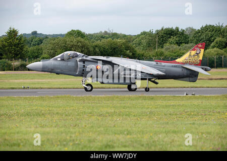 Spanish Navy Harrier Fighter Jet VA1B-37 taxies along the runway at RAF Fairford in Gloucestershire at the RIAT - Stock Photo