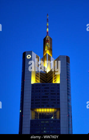 Germany, Hesse, Frankfurt am Main, Commerzbank Tower, in the evening - Stock Photo